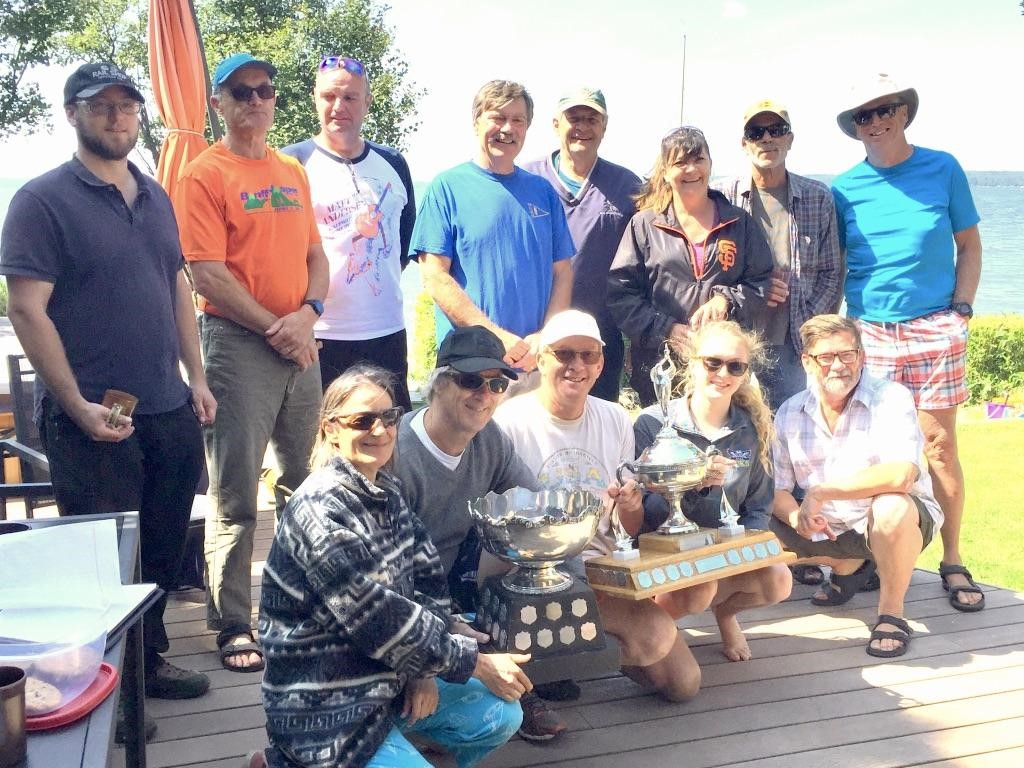 A group photo of the racers from the 2019 Western Y Flyer regatta